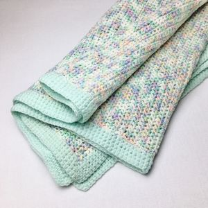 VINTAGE Crochet Granny Knit Afghan Throw Boho